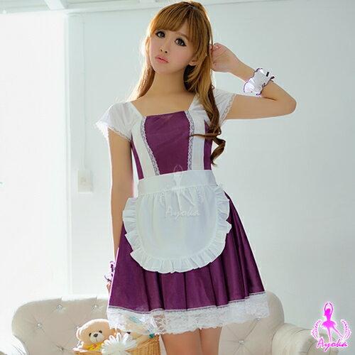 愛的蔓延:愛的蔓延紫色情懷!爛漫五件式女僕角色扮演服角色扮演cosplay情趣用品13030112