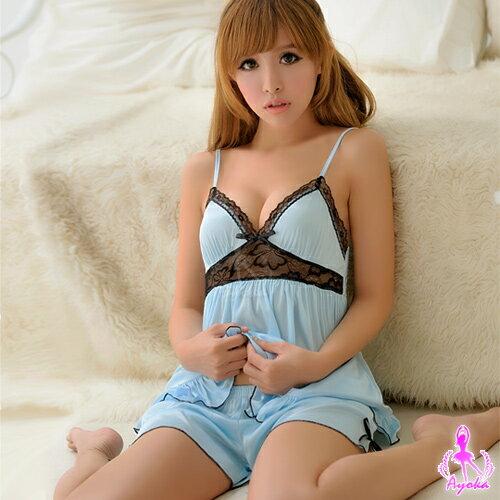 愛的蔓延:愛的蔓延情趣睡衣性感睡衣微美氛圍!二件式柔緞睡衣13020099