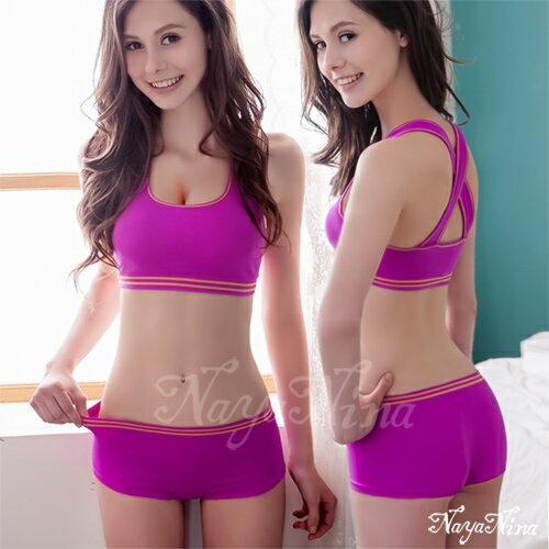 愛的蔓延 玩色!撞色彩條無縫低腰平口褲S-XL(紫) 運動型內褲 NA14350002
