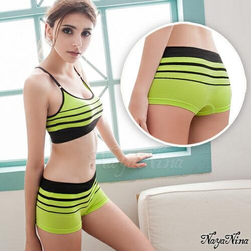 愛的蔓延 旋律!超彈力無縫中低腰平口褲S-XL(黃綠) 運動型內褲  NA15350016