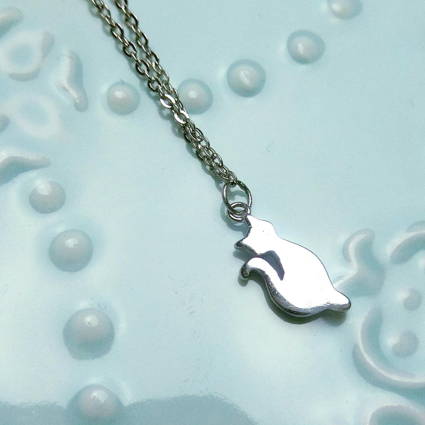 Tokyo Alice 純銀平面貓咪項鍊^(銀色^),項鏈飾品首飾銀飾甜美鎖骨鏈^(s00