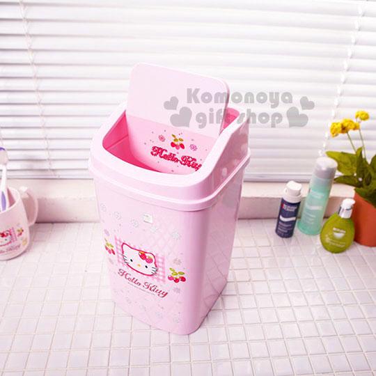 〔小禮堂韓國館〕HelloKitty平衡蓋垃圾筒《中.粉紅.草莓》輕鬆美化室內空間