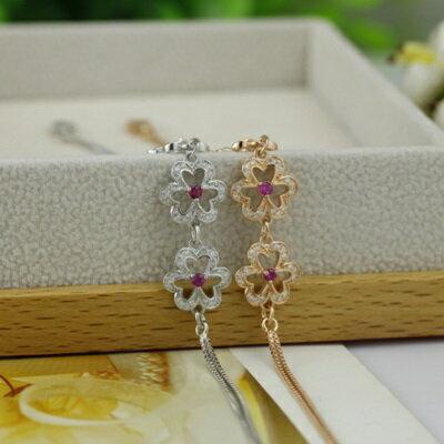 ~925純銀手鍊 鑲鑽手環~ 精緻奢華花朵情人節生日 女飾品2色73dl12~ ~~米蘭