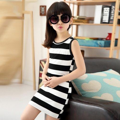 中大童短袖洋裝條紋連身裙背心裙寶寶童裝MC31105好娃娃