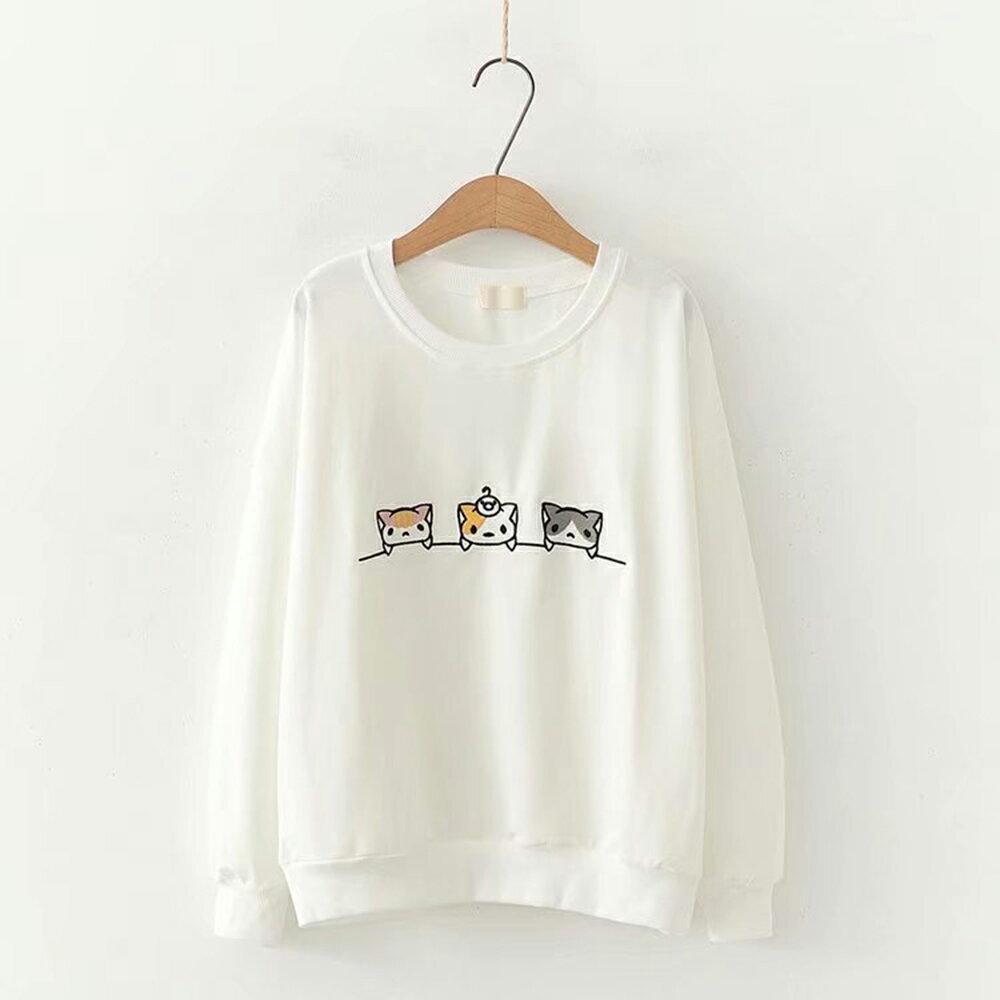 卡通貓刺繡寬鬆長袖圓領衛衣上衣(3色F碼)*ORead* 2