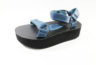 Teva 女款 FLATFORM UNIVERSAL 全黑厚底 藍織帶涼鞋 TV1012471BLU [陽光樂活]