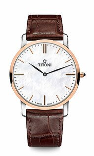 TITONI瑞士梅花錶纖薄系列TQ52918SRG-ST-587簡約金屬大理石紋時尚腕錶玫瑰金38mm
