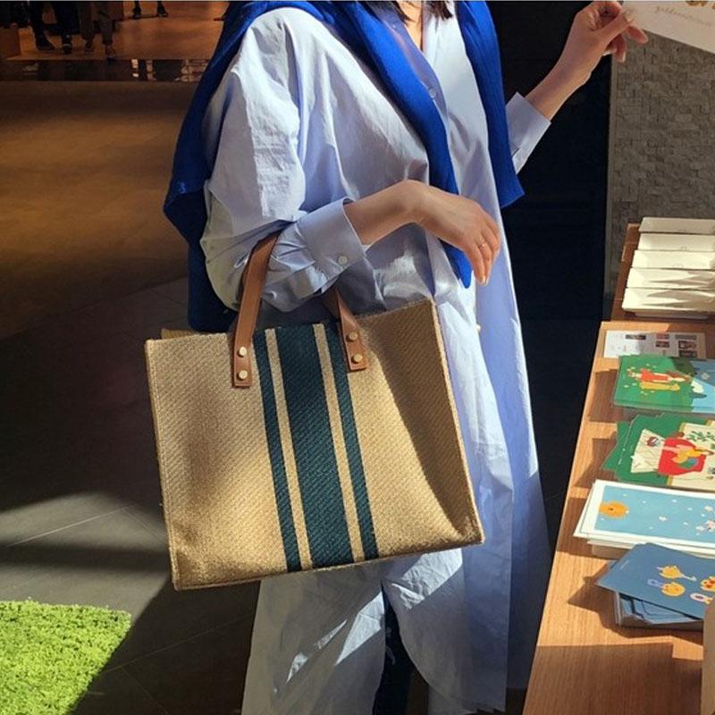 韓版女士手提公文包職業通勤條紋簡約單肩大包包大容量帆布包