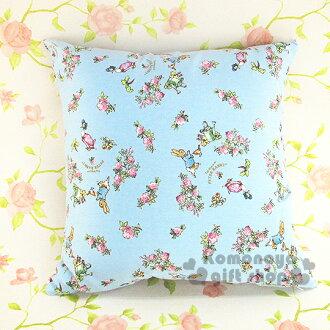 〔小禮堂〕彼得兔 正方型抱枕《大.藍.花朵滿版》可抱.可躺.可靠