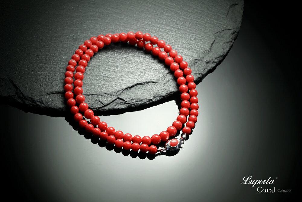 大東山珠寶 頂級天然全紅珊瑚 5.5-6mm圓珠項鍊 5