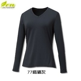 [ FIT 維特 ] 女 遠紅彈性V領保暖衣 鐵礦灰 / GW2502-77