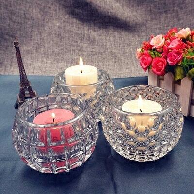 歐式現代創意婚慶酒吧生日圓柱形玻璃蠟燭台擺件yh