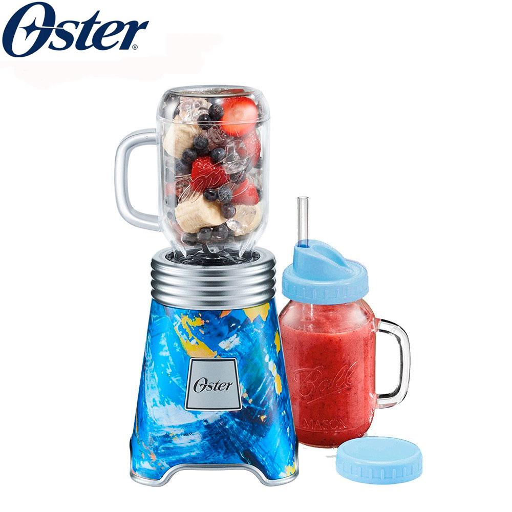 美國 Oster BALL經典隨鮮瓶果汁機 BLSTMM-BA4 彩繪藍 Ball Mason Jar  一機一杯組