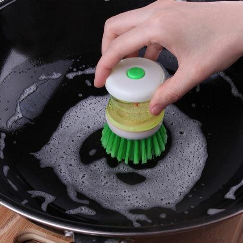 [Hare.D] 按壓洗碗刷 便利洗鍋刷 按壓式洗碗精 廚房用品創意清潔刷