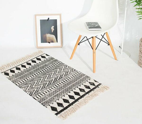北歐地墊棉線編織家用臥室床邊地墊地毯廚房腳踏墊單售