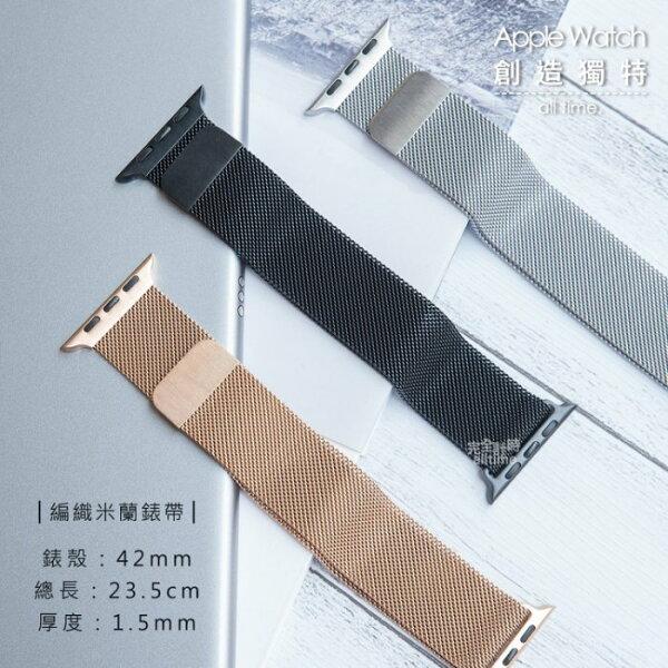 【完全計時】錶帶館│42mmApplewatch代用錶帶精緻不鏽鋼編織米蘭錶帶iwatch代用錶帶