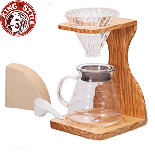 金時代書香咖啡 HARIO V60玻璃濾杯木架咖啡壺組 / VSS-1206-OV