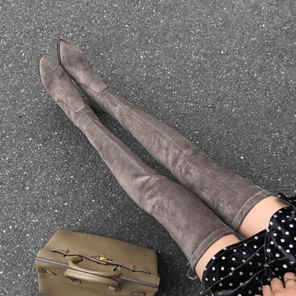 過膝靴女長靴秋冬sw5050平底長筒靴瘦瘦靴中跟粗跟高筒彈力靴女靴 清涼一夏钜惠