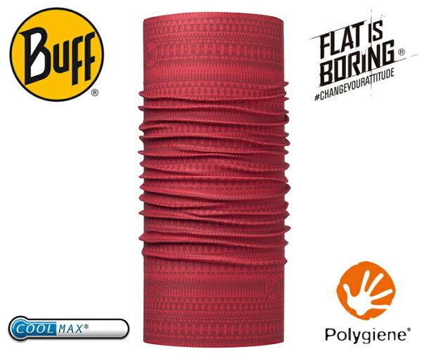 ├登山樂┤西班牙BUFFCOOLMAX抗UV頭巾-波圖紅紋#BF113625-425