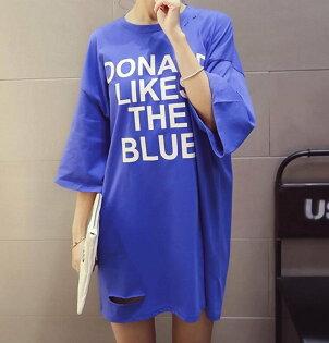 FINDSENSEMD韓國時尚女潮中長款破洞寬鬆大碼字母印花短袖T恤學生短T