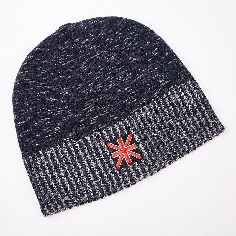 毛帽羊毛針織帽-簡約提花捲邊保暖男帽子2色73wj31【獨家進口】【米蘭精品】 2