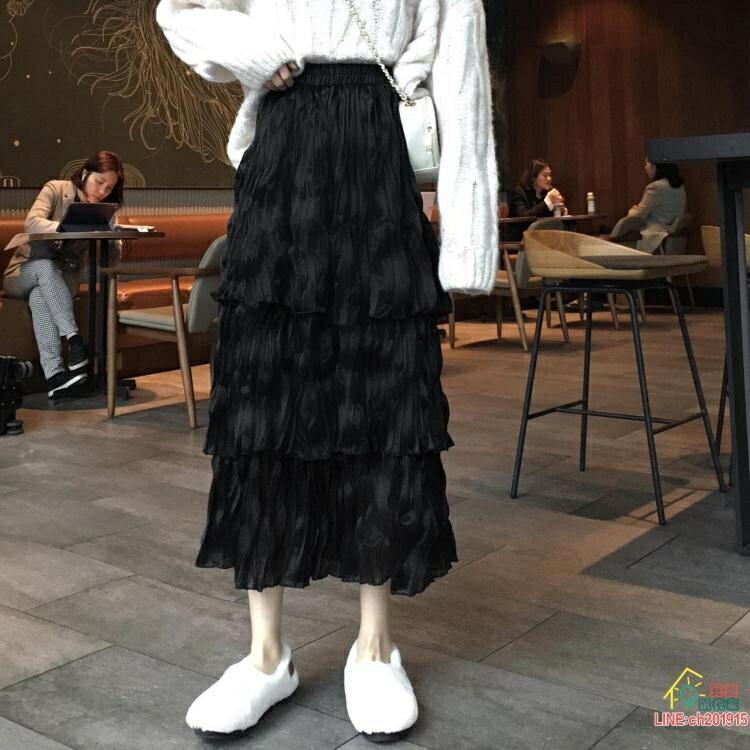 長裙 雪紡半身裙女春秋季蛋糕裙2021新款高腰顯瘦裙子仙女超仙森系長裙 限時折扣