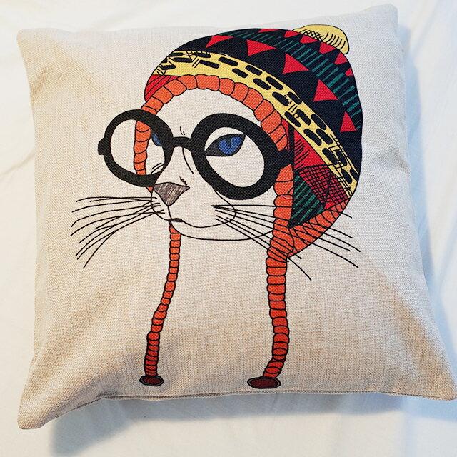 搖滾貓抱枕  棉麻材質   45cmX45cm 花色獨特 觸感扎實