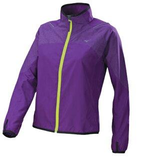 [陽光樂活]!限時6折!MIZUNO美津濃女路跑風衣J2TC628468(紫)防潑水夜跑用反光布料