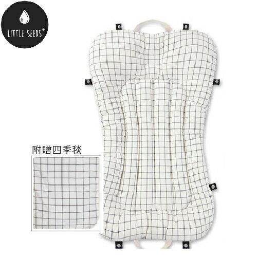 【贈四季毯+收納袋】韓國【Little Seeds】嬰兒口袋床墊組-文創格