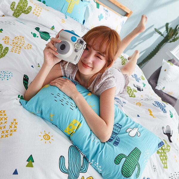 床包雙人-100%精梳棉【OH!仙人掌-白】含兩件枕套,戀家小舖,台灣製