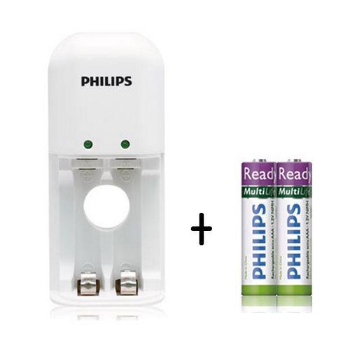PHILIPS 飛利浦 SCB1211 鎳氫電池充電器+4號低自放充電電池2入【葳豐數位商城】