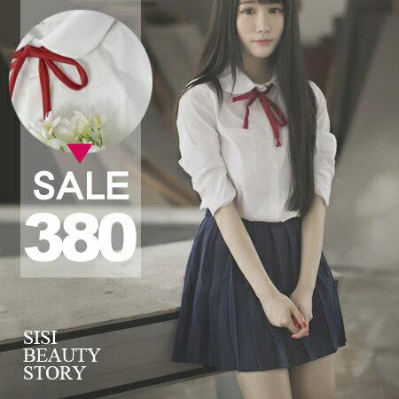 SISI【E6034】日系森林系學生制服風翻領長袖純白襯衫上衣+百褶短裙套裝組