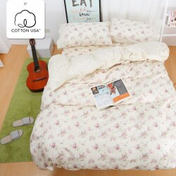 被套床包組 雙人-精梳棉薄被套床包組/春漾庭園/美國棉授權品牌[鴻宇]台灣製-1516米黃