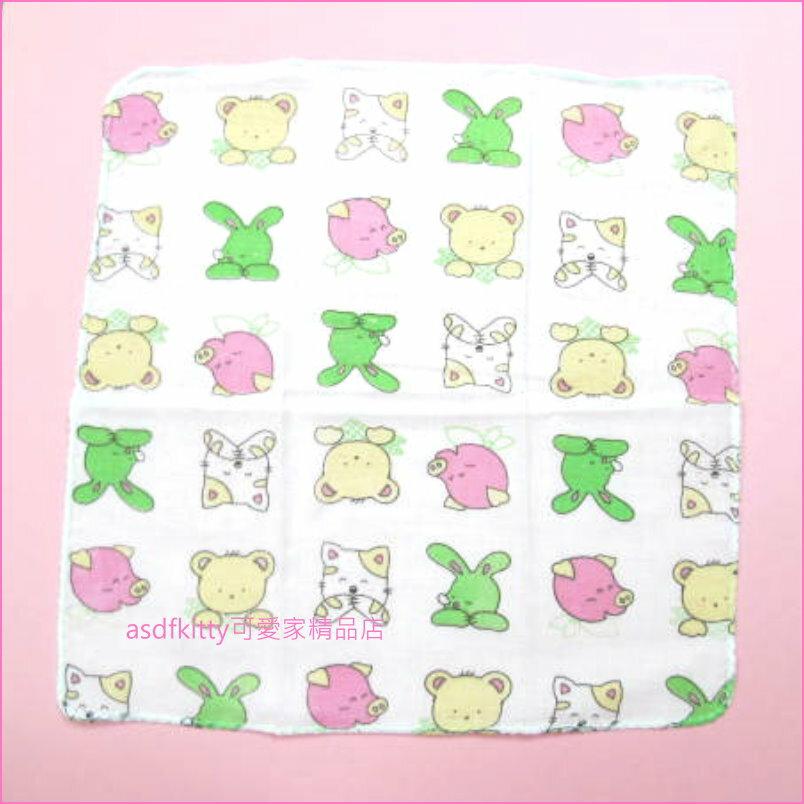 asdfkitty可愛家☆日本製-純棉麻紗手帕-30*30公分-貓豬熊兔款