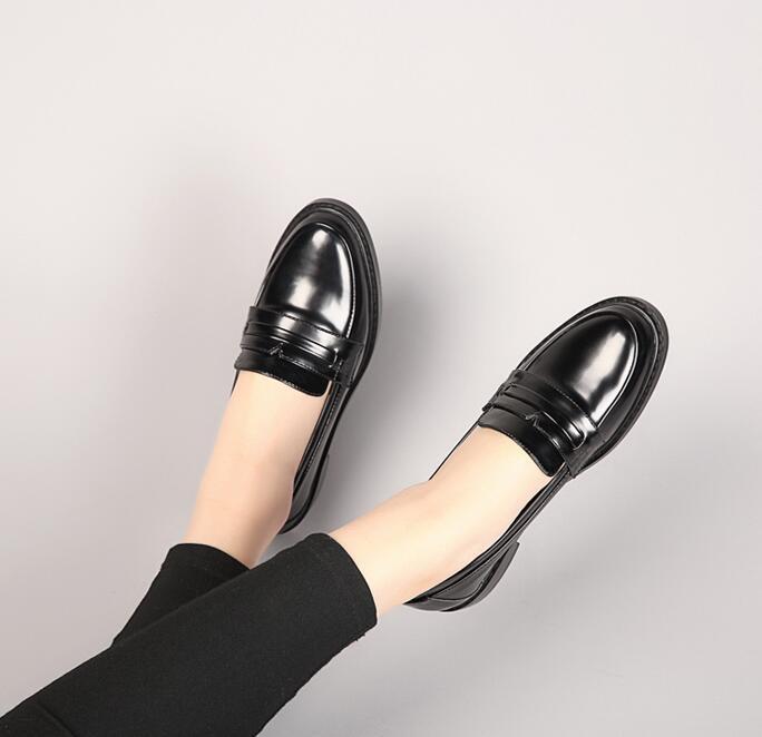 牛津鞋-小皮鞋女粗跟中跟圓頭學院複古百搭黑色一腳蹬牛津單鞋英倫風女鞋