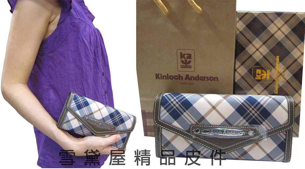~雪黛屋~Kinloch Anderson英國金安德森格紋長型皮夾緹花布 100%牛皮二折
