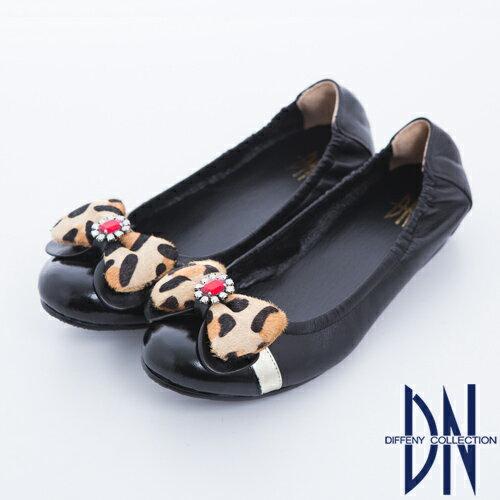 DN 心機美學 豹紋蝴蝶結內增高羊皮娃娃鞋-黑