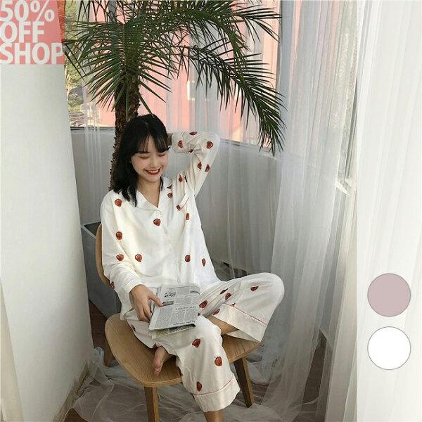 50%OFFSHOP韓版休閒居家服睡衣套(2色)【G035486C】
