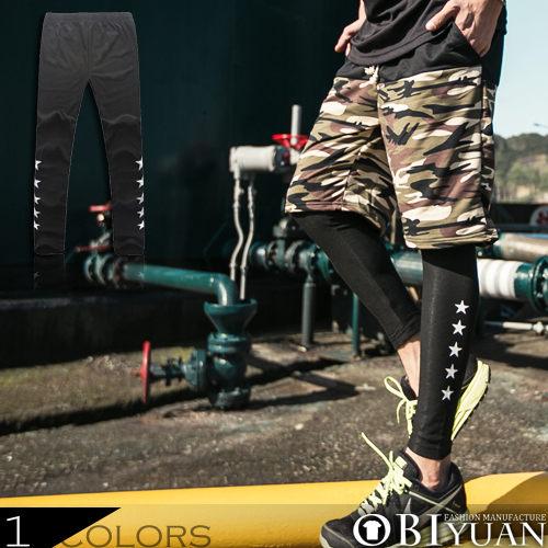 男內搭褲【JN2315】OBI YUAN韓版側邊星星彈力短褲內搭彈力休閒褲