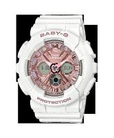 CASIO 卡西歐 BA-130-7A1 Baby-G風格時尚雙顯女錶  白X粉  43.3mm-清水鐘錶-流行女裝