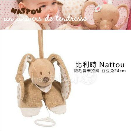 ?蟲寶寶?【比利時Nattou】歐洲30年領導品牌!絨毛音樂拉鈴-豆豆兔24cm《現貨》
