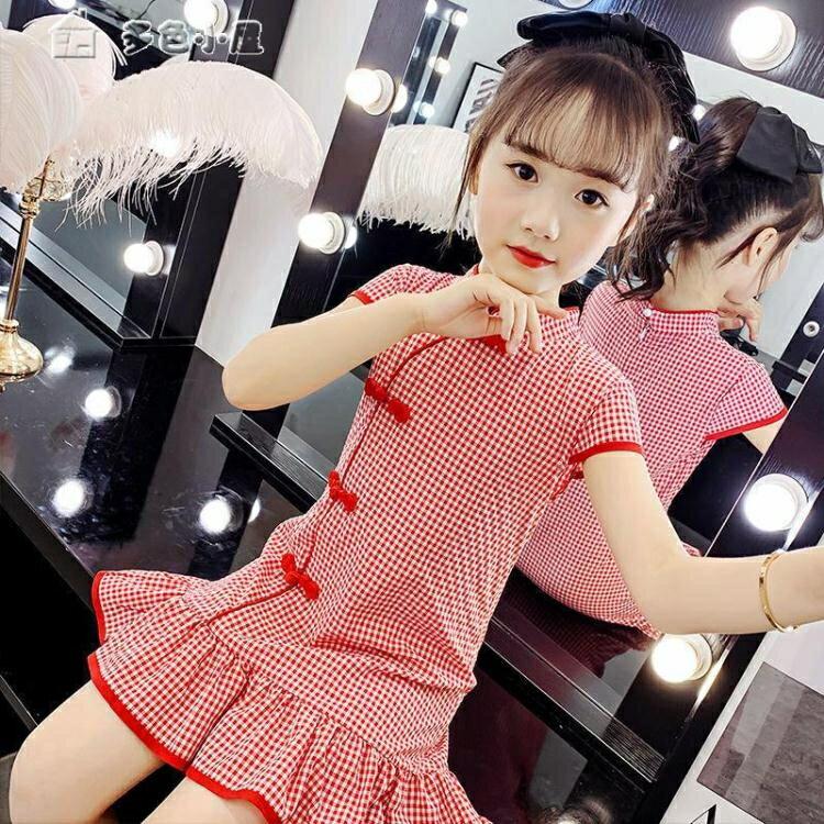 女童洋裝女童旗袍連身裙新款女孩中國風夏裝漢服兒童小女孩漢服公主裙 【快速出貨】