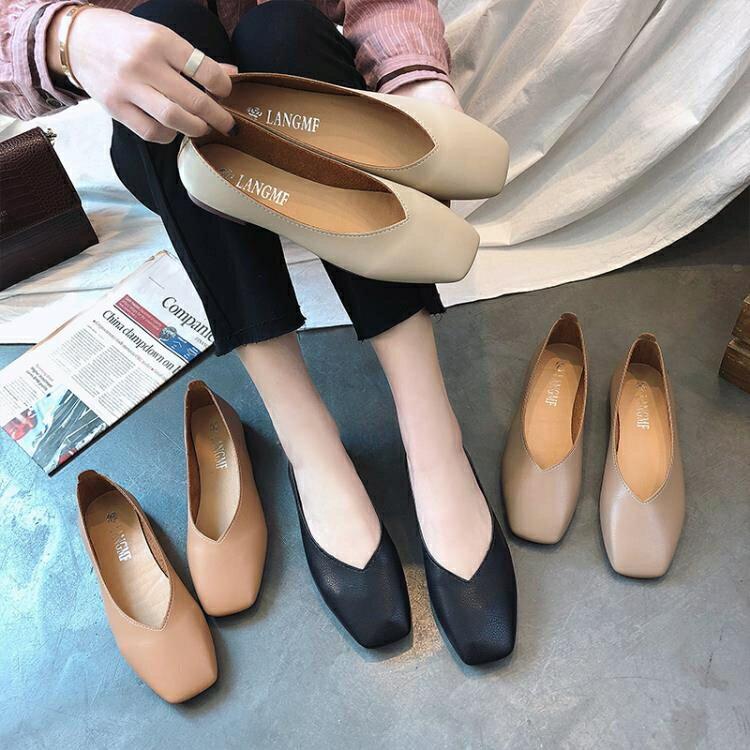 2021春季新款女鞋方頭單鞋女平底平跟淺口套腳奶奶鞋簡約百搭女鞋【快速出貨】