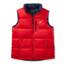 美國百分百【Ralph Lauren】羽絨 背心 外套 RL 上衣 Polo 小馬 立領 雙面穿 紅色 深藍 青年版 I734