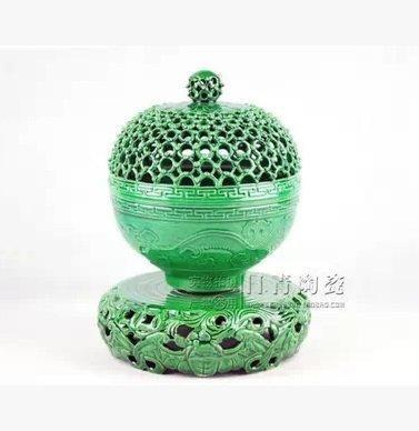 景德鎮瓷器 鏤空旋轉 陶瓷香爐 熏香爐 佛教 檀香爐 工藝品 墨綠