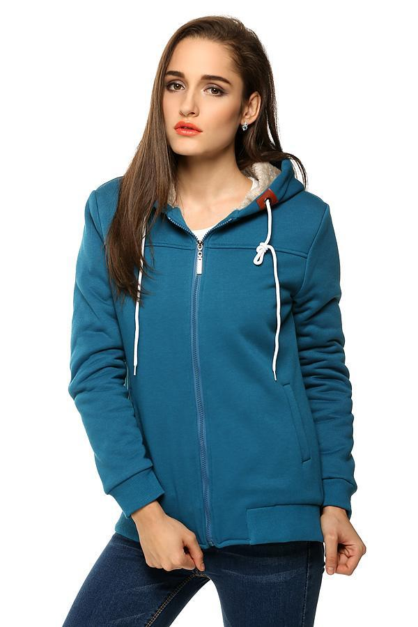 Women Casual Hooded Zipper Closure Pure Color Thick Leisure Sports Slim Tops Hoodie Sweatshirt 3
