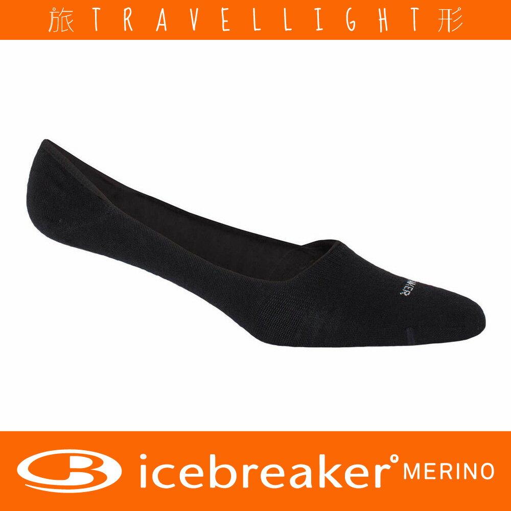 【Icebreaker】女款針織都會隱形襪 黑色 美麗諾羊毛 Travellight旅形