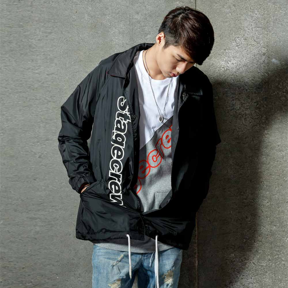 STAGE CREW COACH JACKET 黑色 / 紅色 0