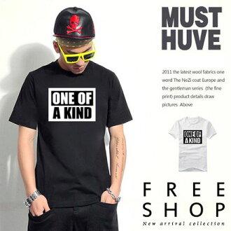 文字短T Free Shop【QFSOH888】黑白撞色ONE OF A KIND色塊印花圓領短T短袖上衣 二色 情侶款 有大尺碼