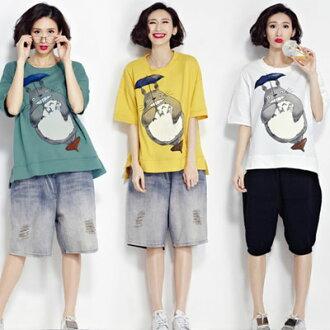 中大尺碼卡通胖貓印花圓領短袖T恤【B-17-0018】LYNNSHOP